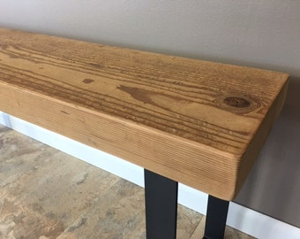 Salvaged Reclaimed Urban Wood Bench - Walnut W/Industrial Steel Legs - Reclaimed Farm Wood - Custom Bench