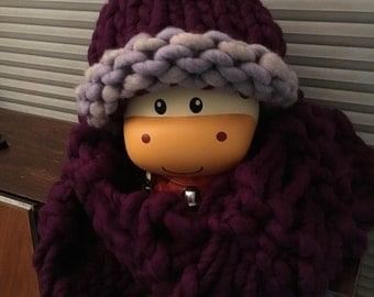 Eggplant Hat and Scarf