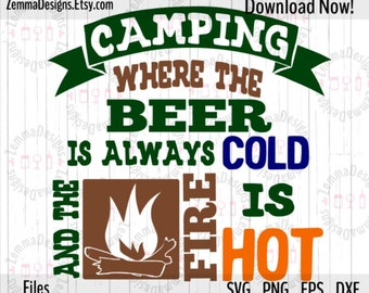 Camping svg - Camping svg files - Fire svg -  Glass block svg - .SVG, .PNG .DXF Silhouette studio-cutting file- commercial use svg