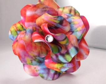 Tie Dye Paper Flowers with Stem - Tie Dye - Paper Flower - Paper Rose - Anniversary Gift - Wedding - Home Decor - Gift - Flower Girl Wand