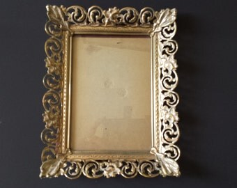 """FREE SHIPPING  Vintage 5"""" x 7"""" Picture Frame, Gold Filigree Photo Frame, Mid Century Metal Frame, Hollywood Regency Shabby Chic,   #7"""