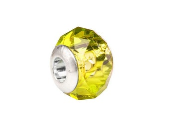 Yellow diamond faceted beauty glass Pandora Style beads Fits Pandora Style Bracelet / Necklace European bead 10x13.5mm 4pcs
