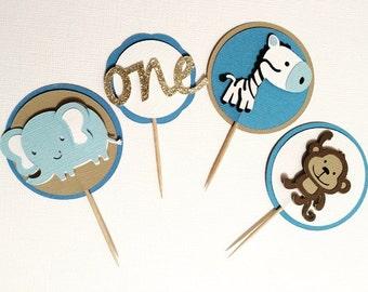 Set of 20 Safari First Birthday Cupcake Toppers- Monkeys, Zebras, and Elephants- Gold Glitter