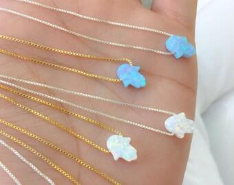 Opal Necklace. Opal Hamsa Necklace. SALE  925 Sterling Silver Hamsa Opal  Necklace. Light Blue Hamsa Opal.  Silver Opal Hamsa. Box Chain