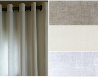 Grommet Curtain Panels Extra Wide 100% Linen Curtain Panel