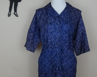 Vintage 1950's Day Dress / 50s Abstract Dress XL