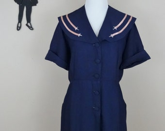Vintage 1940's Navy Day Dress / 40s Button Up Secretary Dress L/XL