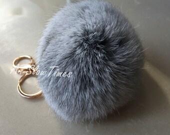 Furry keychain-real fur pom poms key chains -fluffy bag charms-grey fox fur , aqua fur ball key chain-purple fur ball custom color