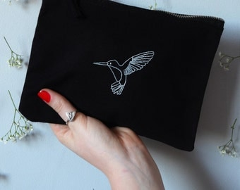 silver Hummingbird embroidered Black make-up,clutch bag