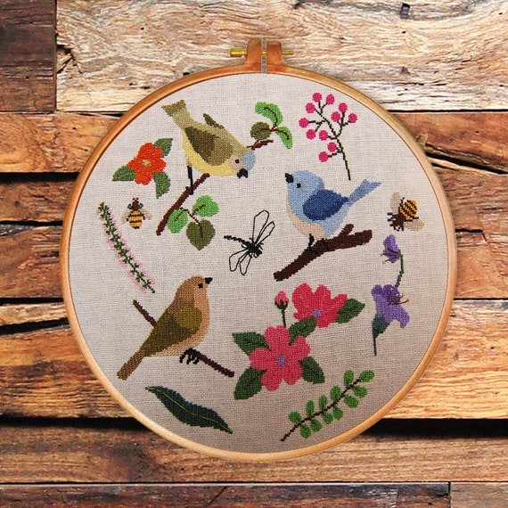 Spring Beauty Cross Stitch Pattern Modern Nature Counted