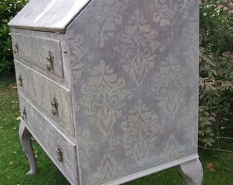 Purple Writing Bureau / Shabby Chic /  Vintage Desk / Queen Anne legs / Handpainted Desk / Damask Furniture