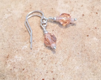 Pink drop earrings, dangle earrings, seed bead earrings, sterling silver drop earrings, rose earrings, simple earrings, gift for her