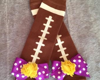 Purple and Gold LSU Tigers Football Leg Warmers, Football Leg Warmers, Purple and Gold Leggins, LSU Leg Warmers, Photo Prop, Bow Leg Warmers