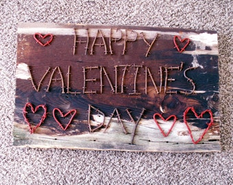 Happy Valentine's Day Rusty Nail Barb Wire Heart Wall Decor