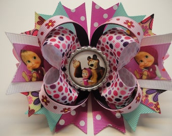 "Masha and the Bear Boutique Stacked Hair Bow Garden Rose/Aqua/Pink/White  W 5.0""x L 4.5"" x H 2.0"""