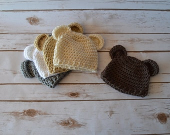 crochet baby hat, crochet bear hat, baby hat, bear hat, crochet hat