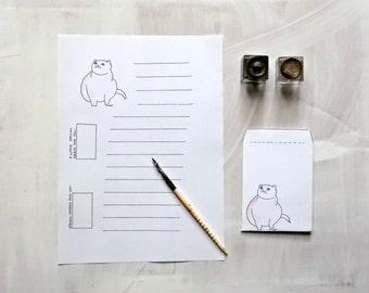 printable cat stationary set with envelope INSTANT Download  Art Diy  -  cat's pdf -