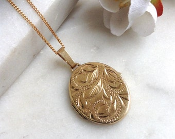 Vintage 9ct gold locket, solid gold oval locket, hallmarked Birmingham 1989