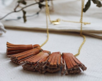 Handmade tan leather tassel necklace.  Colour variations available.  Handmade in England.