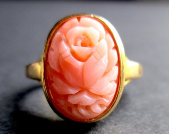 RESERVED FOR LESLIE Vintage Hand Carved Peach Colored Coral Rose Oval Ring Gold Tone Bezel Setting Size 6.5-6.75 Cameo Victorian Revival