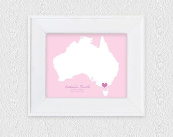 keepsake wedding map - printable digital download - custom personalised country or state guest book alternative, destination wedding gift
