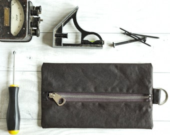 Boyfriend Gift, Waxed Canvas, Flat Pack, Gifts For Dads, Tool Pouch, Pencil Case, Toiletry Pouch, Travel Bag, Brown Wallet, Rustic Bag, Dopp