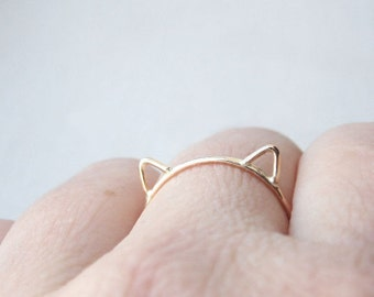 Gold Cat Ring - Cat Ears Ring