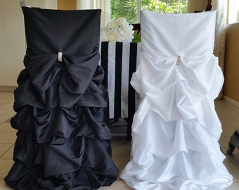 Black and White chair cover set, Black and Whit wedding chair cover, Bride and Groom wedding chair cover, Ruffled Wedding Chair Covers