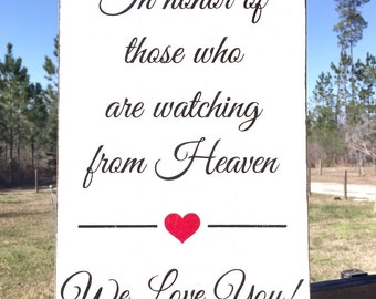 WEDDING MEMORIAL SIGNS | In Memory of Signs | Wood Signs | 11x17