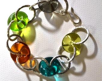 Bracelet silver glass Murano