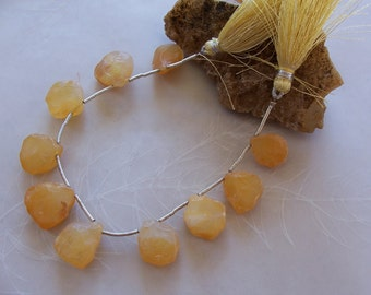 "Golden Onyx Gemstone Rough Organic Tumbled Nugget Briolette Pendant Beads ~ 6"" Strand ~ 10 Pieces ~ 15mm-17mm"