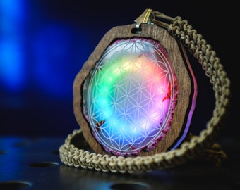 Made to order: Rainbow Agate Pendant with rechargeable LEDs