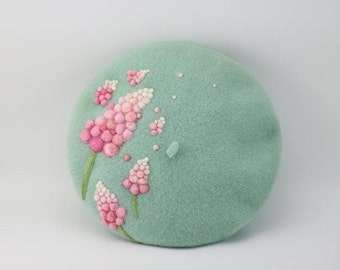 Wool beret with Needle felt flower,Needle Felted hat pattern,fresh and romantic  beret