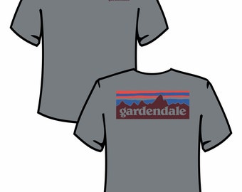 "Grey ""GARDENDALE"" Tee with Blue/Red Accents"