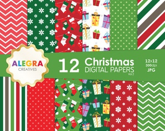Christmas Digital Paper Pack, Instant Download, Xmas Scrapbook Paper, Green Red, Gifts and Socks