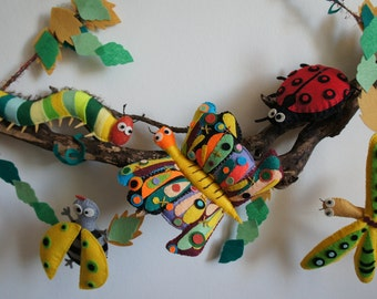 Wall pendant / table butterfly, ladybug, dragonfly, bee, millipedes
