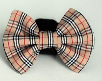 Tartan Plaid Bow Tie | Dog Bow Tie | Burberry Inspired Bow Tie | Bow Tie for Dogs