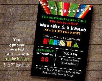 Fiesta Invitation, Printable Mexican invite, Engagement invitation, Instant Download Editable PDF file A437