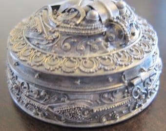 Beautiful Filigree Moth Silver Pill Box