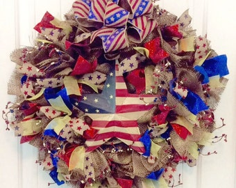 Fourth of July Wreath, Deployment Wreath, Patriotic Wreath, Patriotic Burlap Wreath, 4th of July Door Wreath, Military Wreath For Front Door
