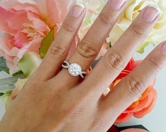 SALE! Round halo engagement ring, round diamond ring, wedding ring, promise ring, simulated diamond 2 carat center art deco, vintage