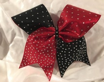 Red and Black Rhinestone Cheer Bow