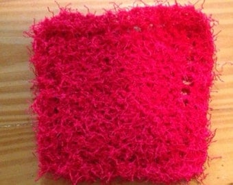 Hand Knit Cherry Red Super Scrubby