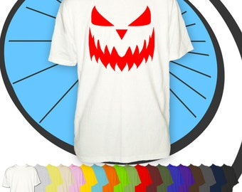 Mens Pumpkin Face Halloween Costume T Shirt - Easy No Effort Tshirt - Horror Party Wear - Night Out T-shirt - Man Gift Present