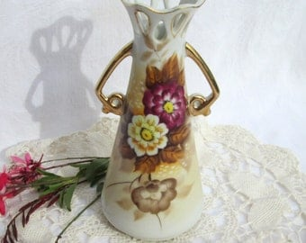 UCAGCO Hand Painted Purple Red Cream Floral Vase Reticulated Neck - Made in Japan