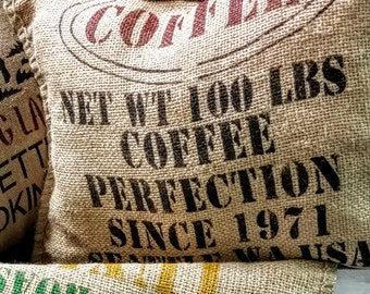 Vintage Coffee Sack Pillow / Fancy Roasted Coffee Sack Pillow / Coffee Sack Pillow / Vintage Pillow / Burlap Pillow / Burlap Coffee Pillow