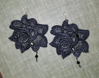 Rose in Lace Spike Fashion Earrings with a Drop of Sparkle from Swarovski Crystals