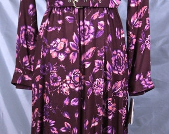 Free Shipping:  Moroon/Burgundy Floral Leslie Fay Dress