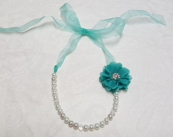 White glass beaded pearl necklace and teal flower, Wedding necklace, bridesmaids necklace, Special occasion, gift, perfect for any age.