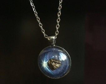 Deep Blue Meteorite Pendant Necklace